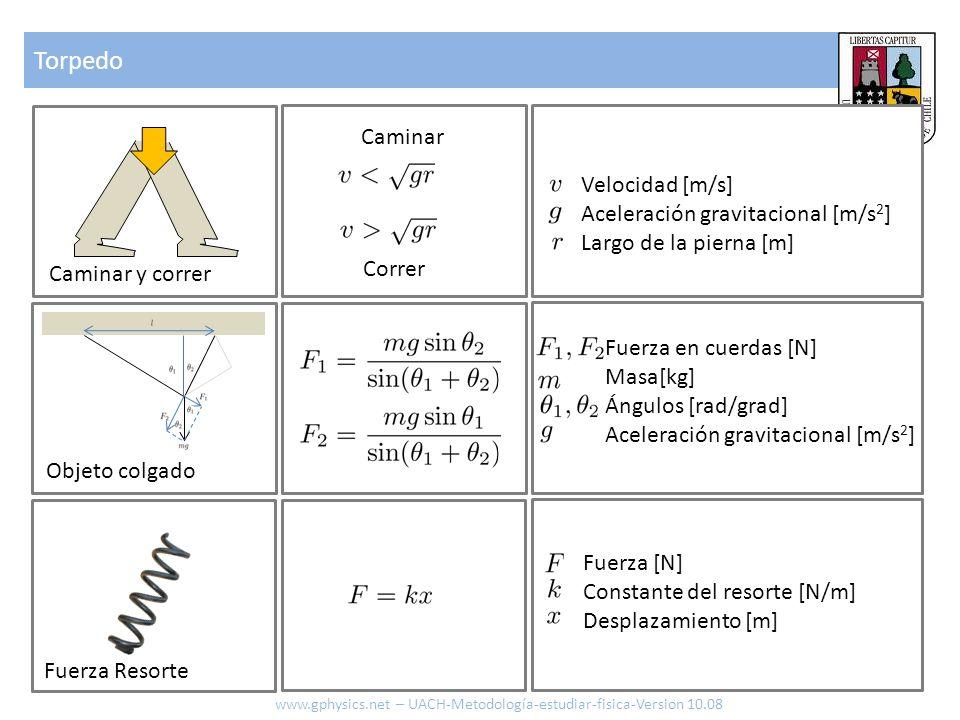 Torpedo Caminar Velocidad [m/s] Aceleración gravitacional [m/s2]